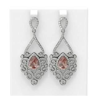9.86 ctw Morganite & Diamond Earrings 18K White Gold -