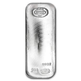 One piece 100 oz 0.999 Fine Silver Bar Asahi - 90500