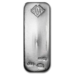 One piece 100 oz 0.999 Fine Silver Bar Johnson Matthey
