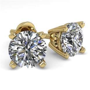 1.0 ctw VS/SI Diamond Stud Designer Earrings 14k Yellow