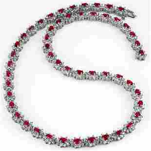 27.10 ctw Ruby & Diamond Necklace 18k White Gold -