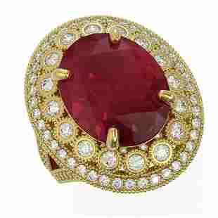 13.85 ctw Certified Ruby & Diamond Victorian Ring 14K