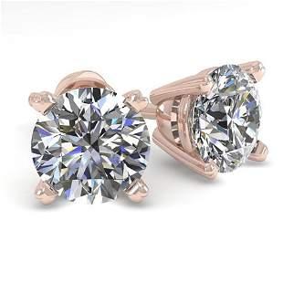 1.50 ctw VS/SI Diamond Stud Designer Earrings 18k Rose