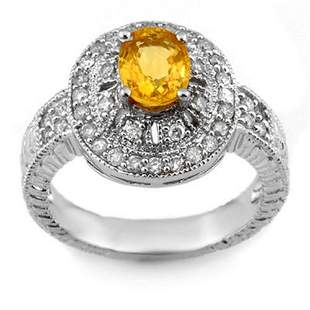 2.08 ctw Yellow Sapphire & Diamond Ring 14k White Gold