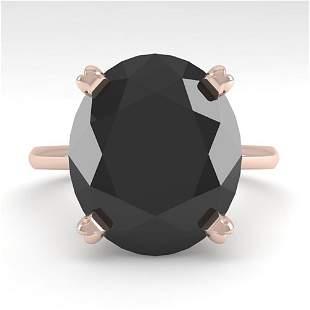 9.0 ctw Oval Black Diamond Engagment Designer Ring 14k