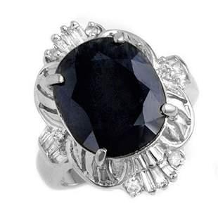 8.07 ctw Blue Sapphire & Diamond Ring 14k White Gold -