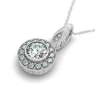 0.65 ctw Certified VS/SI Diamond Halo Necklace 14k