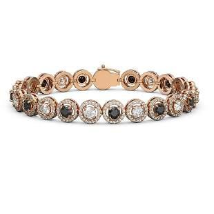 10.39 ctw Black & Diamond Micro Pave Bracelet 18K Rose