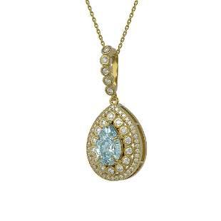3.77 ctw Aquamarine & Diamond Victorian Necklace 14K