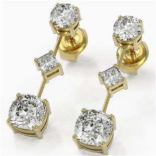 2.32 ctw Cushion Cut Diamond Designer Earrings 18K