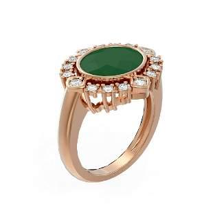 4.54 ctw Emerald & Diamond Ring 18K Rose Gold -
