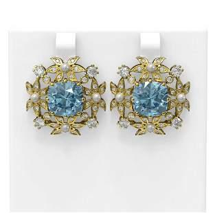 9.83 ctw Aquamarine & Diamond with Pearl Earrings 18K