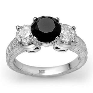 3.80 ctw VS Certified Black & White Diamond Ring 14k