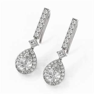 3 ctw Pear Cut Diamond Designer Earrings 18K White Gold