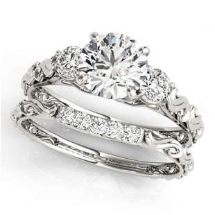 0.89 ctw VS/SI Diamond 3 Stone 2pc Wedding Set 14k