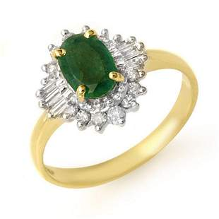 1.25 ctw Emerald & Diamond Ring 10k Yellow Gold -