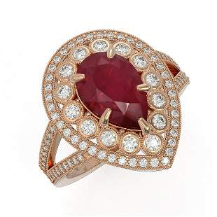 5.12 ctw Certified Ruby & Diamond Victorian Ring 14K