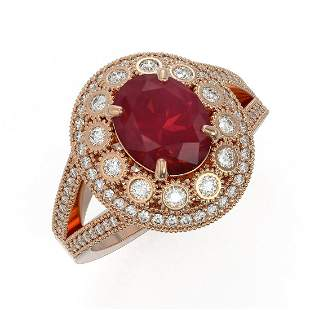 4.55 ctw Certified Ruby & Diamond Victorian Ring 14K