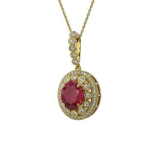8.66 ctw Certified Ruby & Diamond Victorian Necklace
