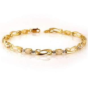 2.02 ctw Opal & Diamond Bracelet 10k Yellow Gold -