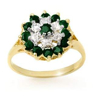1.02 ctw Emerald & Diamond Ring 10k Yellow Gold -