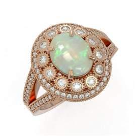3.93 ctw Certified Opal & Diamond Victorian Ring 14K