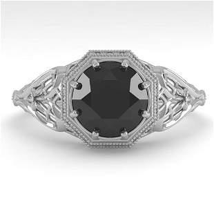 1.50 ctw Black Certified Diamond Ring Art Deco 14k