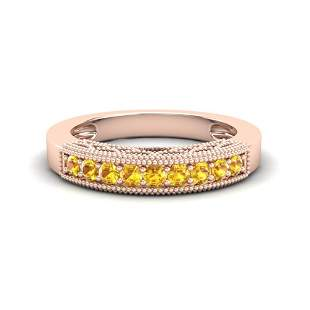 0.50 ctw Yellow Sapphire Art Deco Ring 10k Rose Gold -