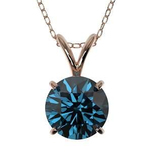 1.28 ctw Certified Intense Blue Diamond Necklace 10k