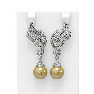3.73 ctw Diamond & Pearl Earrings 18K White Gold -