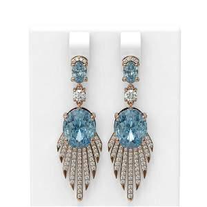 8.62 ctw Blue Topaz & Diamond Earrings 18K Rose Gold -