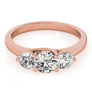 1 ctw Certified VS/SI Diamond 3 Stone Ring 18k Rose
