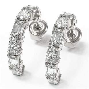 4.86 ctw Emerald & Oval Cut Diamond Earrings 18K White