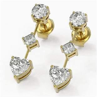 1.85 ctw Heart Diamond Designer Earrings 18K Yellow