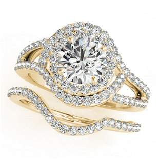 2.47 ctw Certified VS/SI Diamond 2pc Wedding Set Halo