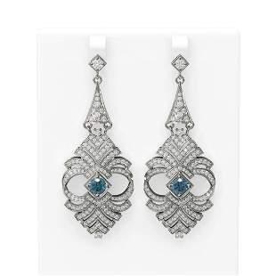 6.56 ctw Intense Blue Diamond Earrings 18K White Gold -