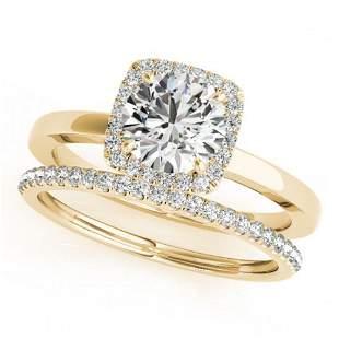 0.83 ctw Certified VS/SI Diamond 2pc Wedding Set Halo