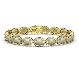 14.24 ctw Opal & Diamond Micro Pave Halo Bracelet 10k