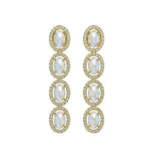 4.05 ctw Opal & Diamond Micro Pave Halo Earrings 10k