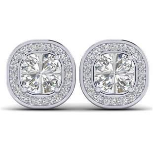 2 ctw Cushion Certified VS/SI Diamond Art Deco Stud