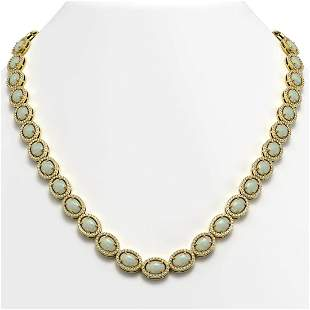 32.42 ctw Opal & Diamond Micro Pave Halo Necklace 10k