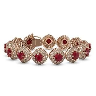 37.35 ctw Certified Ruby & Diamond Victorian Bracelet