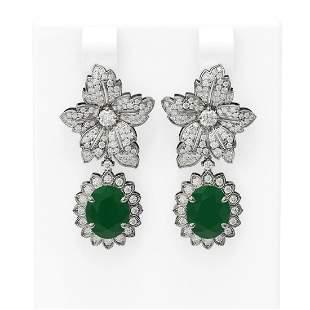 9.09 ctw Emerald & Diamond Earrings 18K White Gold -
