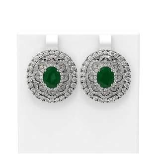 12.9 ctw Emerald & Diamond Earrings 18K White Gold -