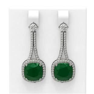 12.28 ctw Emerald & Diamond Earrings 18K White Gold -