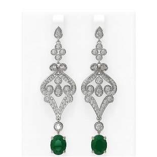 11.15 ctw Emerald & Diamond Earrings 18K White Gold -