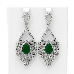 11.26 ctw Emerald & Diamond Earrings 18K White Gold -