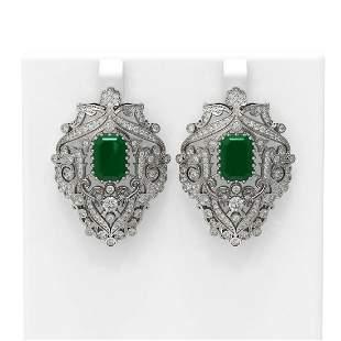15.07 ctw Emerald & Diamond Earrings 18K White Gold -