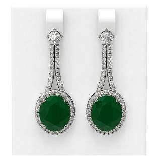 15.53 ctw Emerald & Diamond Earrings 18K White Gold -