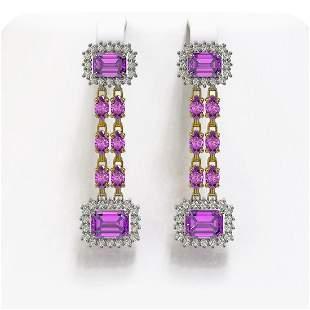 10.36 ctw Amethyst & Diamond Earrings 14K Yellow Gold -